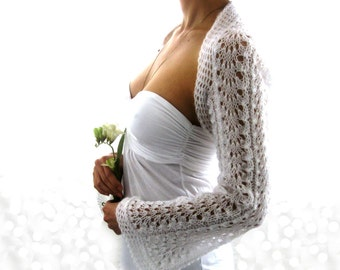Lace White Wedding Shrug  Handmade Knitting