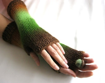 Knit Fingerless gloves  Knitted Fingerless Mittens  Arm Warmers  Hand Warmers  Boho Glove  Multicolor Woodland Gift for Her