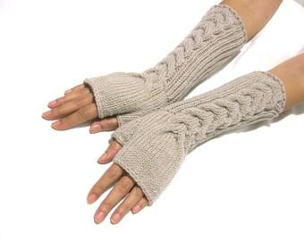 Knit Fingerless gloves   Knitted Fingerless Mittens   Arm Warmers   Hand Warmers   Knit Long  Beige  Fingerless Gloves
