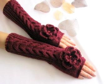 Knit Fingerless gloves   Knitted Fingerless Mittens   Arm Warmers   Wrist Warmers   BURGUNDY  Fingerless Gloves