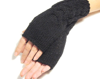 BLACK  Fingerless Gloves, Wool Mittens, Arm Warmers with cable pattern , eco friendly