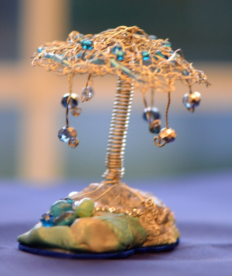 Fanciful Desk Ornament Silver wire wrapped fantasy island tree with beads Designed and handmade by Carol Ann stones  and crystals