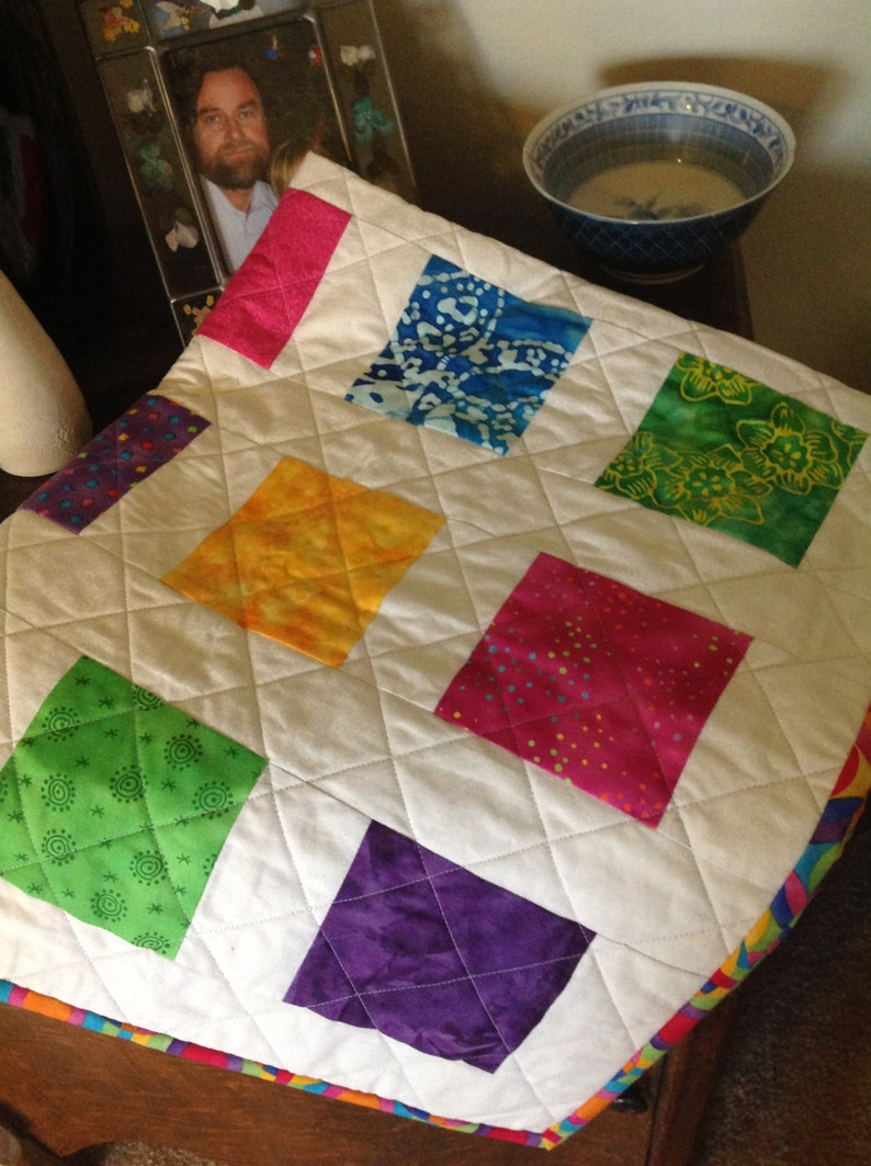 Bright Fun Cute  and Colorful BlockSquares BabyToddler Quilt