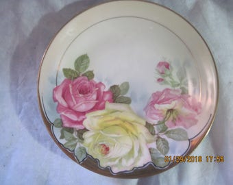Bowls Antique Vintage German Porcelain Bowl Victorian Roses Hand Painted Decorative Arts