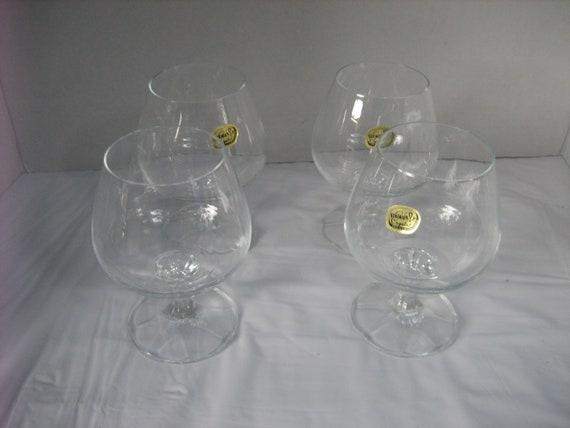 Four Vintage Bohemia Crystal Short Stem Clear Wine Glasses Etsy