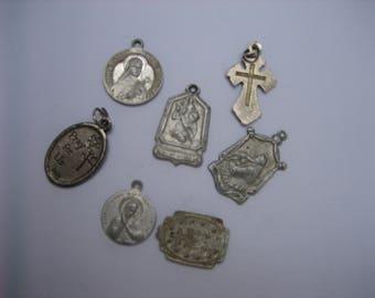 Seven Vintage Catholic Christian Embossed Silver-tone Charm Pendants