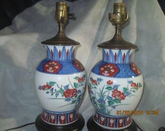 Two Vintage Japanese Ginger Jar Lamps