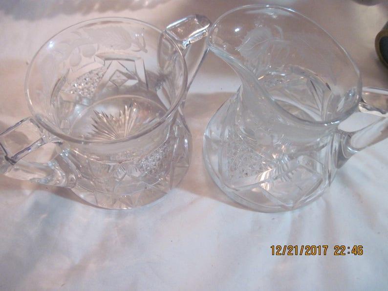 Vintage Glass Sugar /& Creamer Set w Intricate Starburst Designs