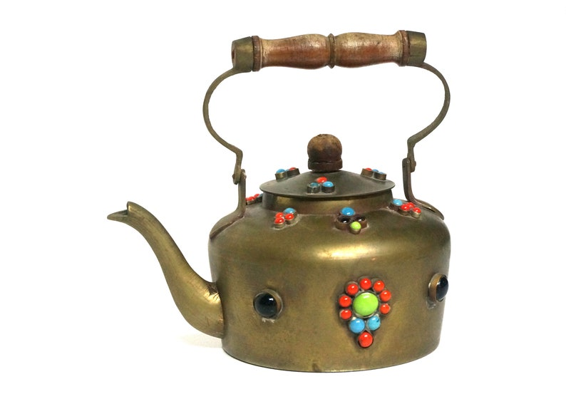 Vintage Brass Mosaic Teapot From India Unique Home Decor Etsy