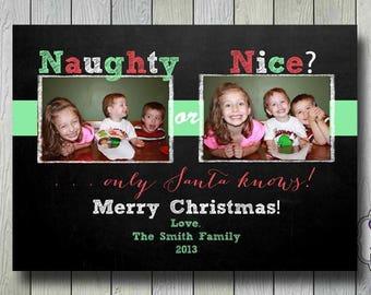 naughty or nice christmas photo card holiday card chalkboard xmas 2 photos - Naughty Or Nice Christmas Card