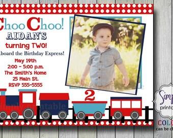 Train Birthday Invitation 2nd Invite Choo Red Blue