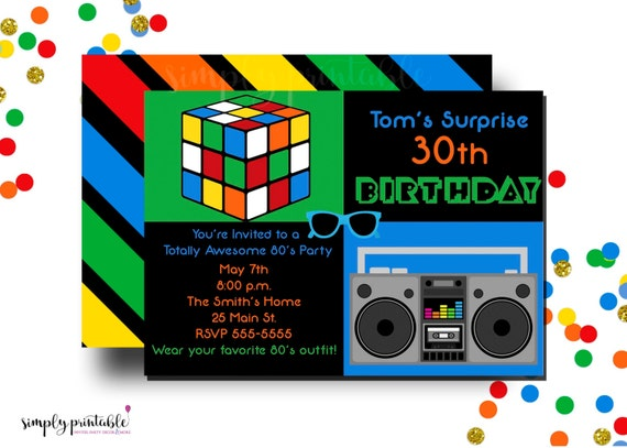 80s Theme 30th Birthday Party Invitation With Rubix Cube Boom Box Digital Or Printed