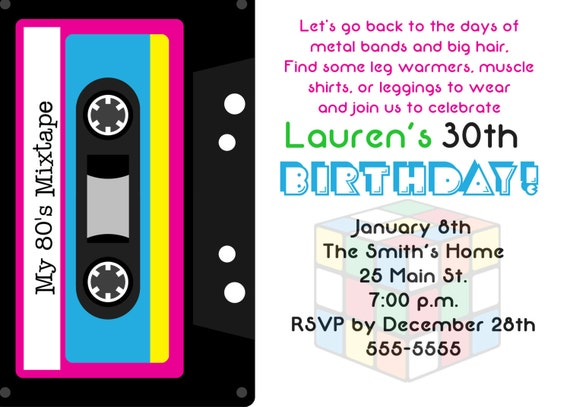 80 S Theme 30th Birthday Party Invitation By Simply Printable