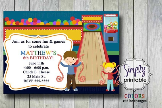 Arcade Birthday Party Invitation Digital Or Printed By Simply