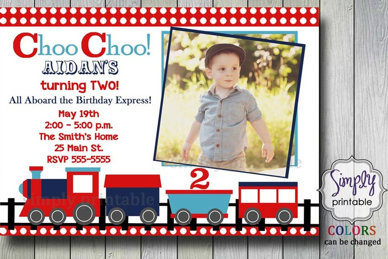 Train Birthday Invitation 2nd Invite Choo
