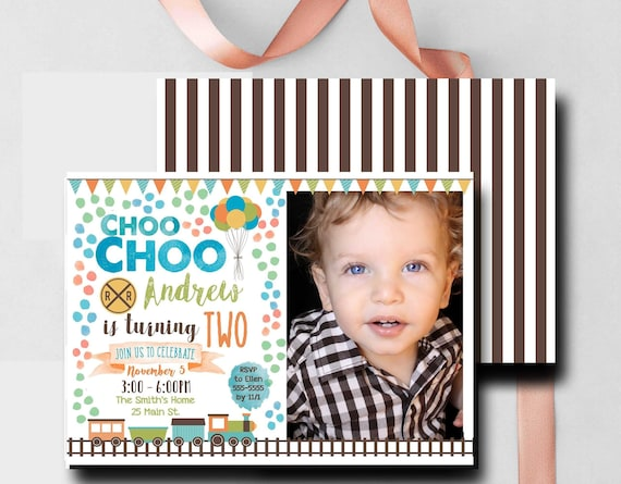 Train Birthday Invitation With Photo 2nd Boy Invite Watercolor Printable Printed