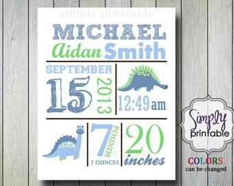 Dinosaur Birth Announcement 8x10 Printable Nursery Wall Art Printable