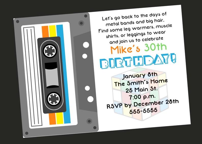 80s Theme 30th Birthday Party Invitation