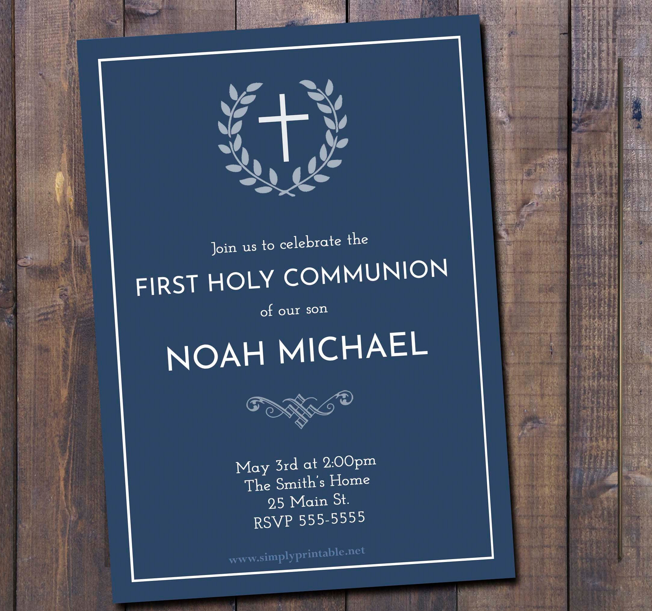 First Communion Invitation, Communion Invite, Boys Communion Invite,  Baptism, Christening, Communion, Blue