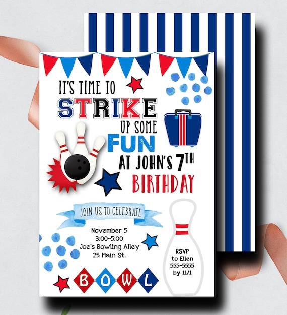 Bowling Birthday Invitation Printable Invite Digital Printed Boy Alley