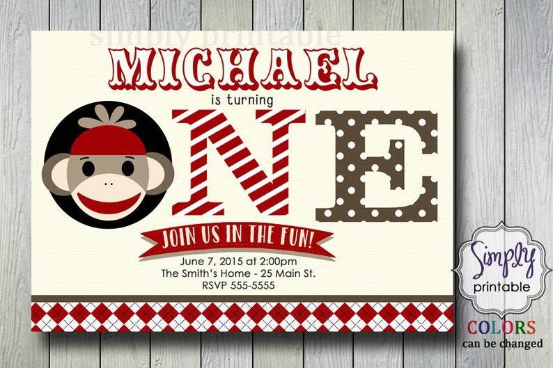 Sock Monkey Birthday Invite 1st Invitation