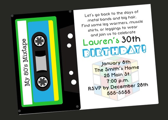 80s Theme 30th Birthday Party Invitation