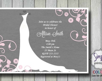 Wedding Dress Bridal Shower Invite