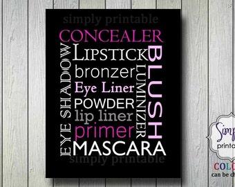 Makeup Wall Print, Salon Print, Digital File