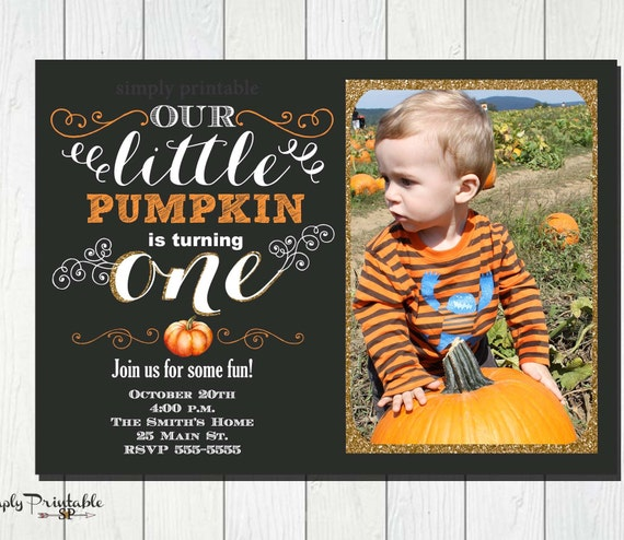First Birthday Pumpkin Invitation Our Little Is One