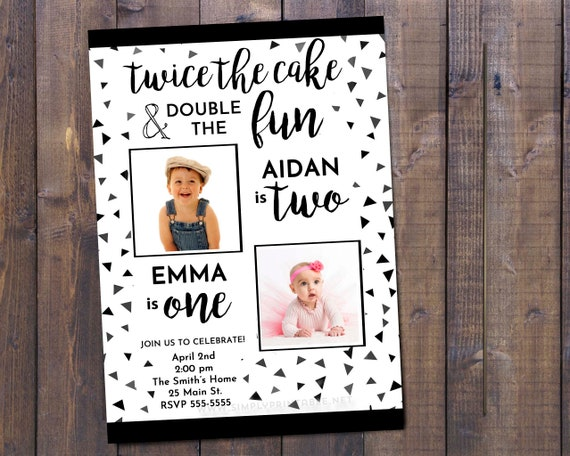 Joint Combined Birthday Party Invitation Twins Invitations Siblings Black And White Confetti