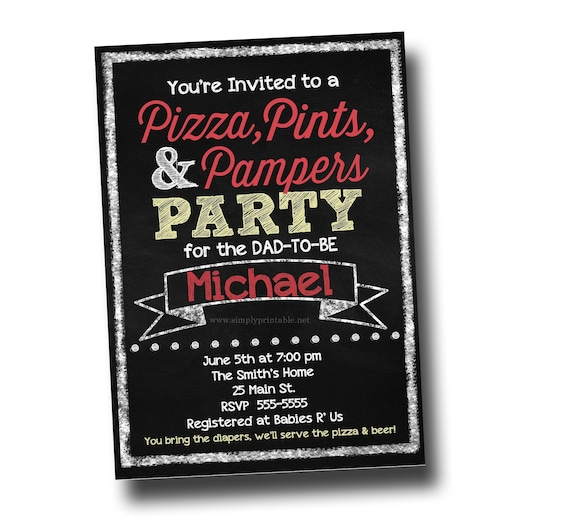 Male Baby Shower Pizza Pints And Pampers Party Invite Invitation