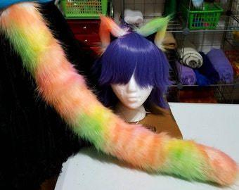 Rainbow Sorbet Galaxy Cat Tail and Ears Set