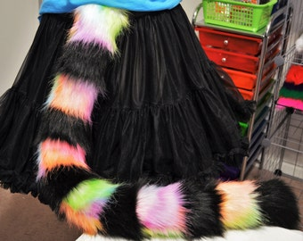 READY TO SHIP! Pink Rainbow Sorbet and Black Stripe Cat Tail