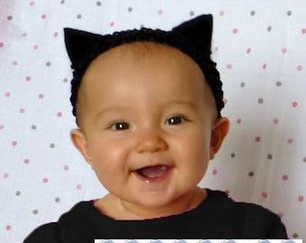 Cat Ears Headband - simply black ears headband handmade no glue soft baby newborn cute kitty halloween costume kitten  sc 1 st  Etsy & Baby cat costume | Etsy