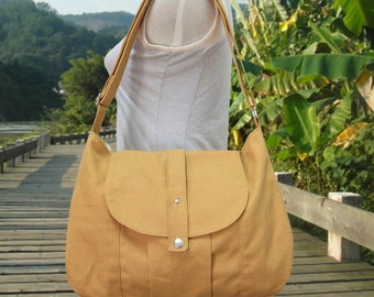 yellow cotton canvas bag / messenger bag / shoulder bag / everyday bag / diaper bag / cross body bag - 6 pockets