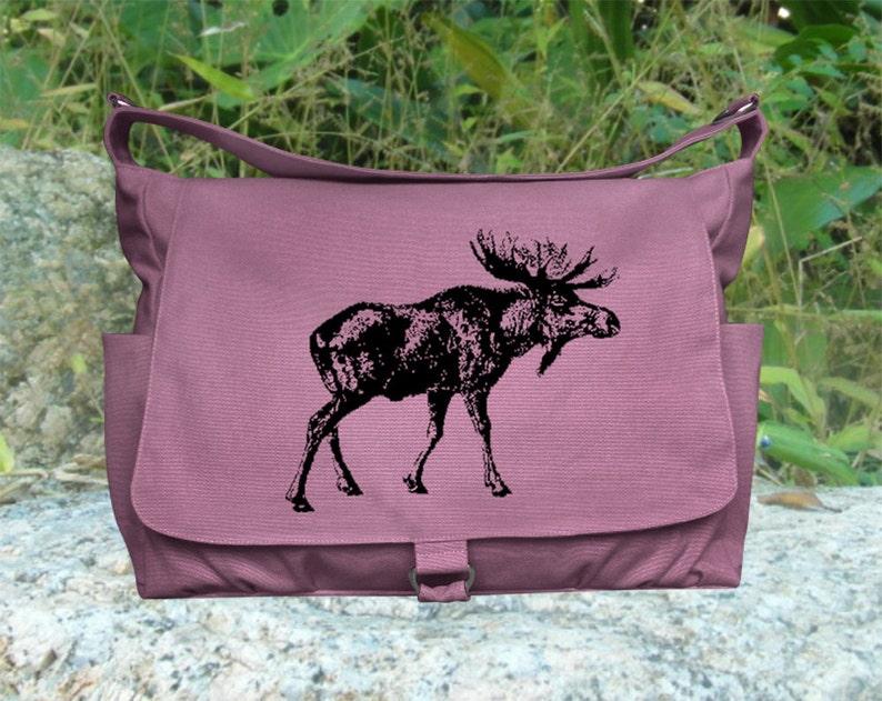 purple messenger bag diaper bag shoulder bag for women image 0