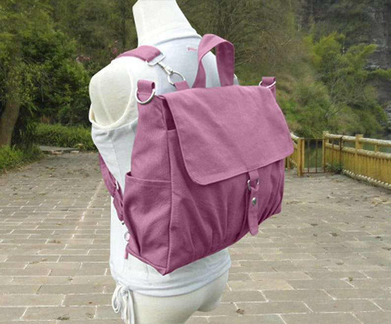 Womens Canvas Rucksack Ladies Office Bag Canvas Backpack image 0