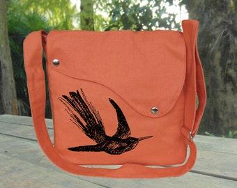 Orange canvas messenger bag women custom screen hummingbird print crossbody bag women hobo bag vegan purse diaper bag satchel, mom gift