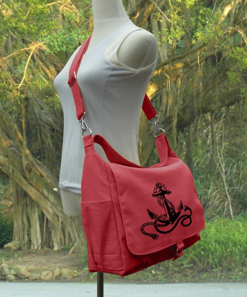 Red shoulder bag canvas messenger bag women diaper bag image 0