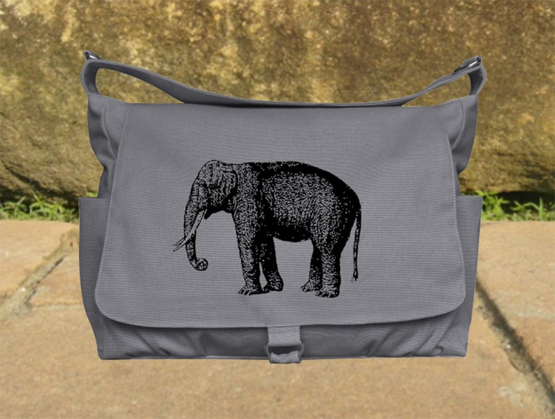 Gray canvas messenger shoulder bag women diaper bag crossbody image 0