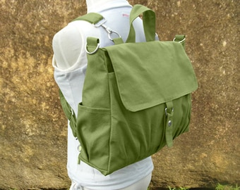 Grass green bag, canvas backpack, canvas rucksack, travel bag, school bag, diaper bag, bags for women