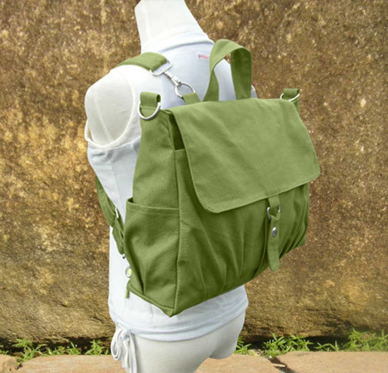 Grass green bag canvas backpack canvas rucksack travel bag image 0