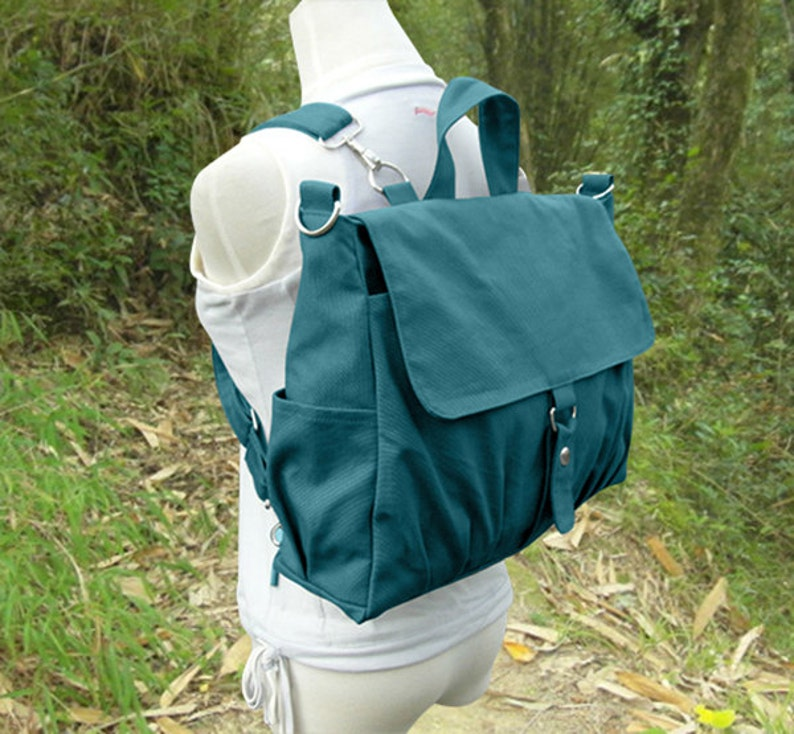 301400f692 Teal green canvas backpack for men and women multipurpose