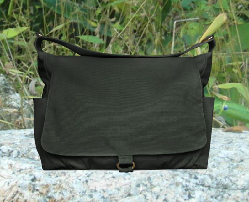 Black canvas messenger shoulder bag women diaper bag crossbody image 0