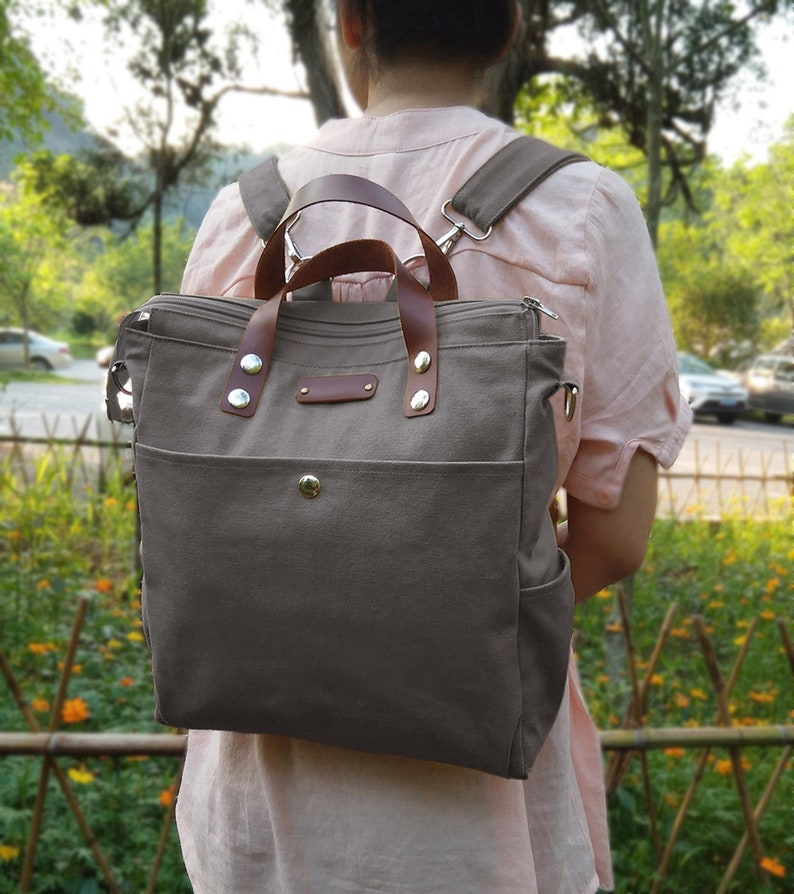 dc50bc614d9c Personalized Tote Bag with Leather Strap Canvas School Bag   Etsy