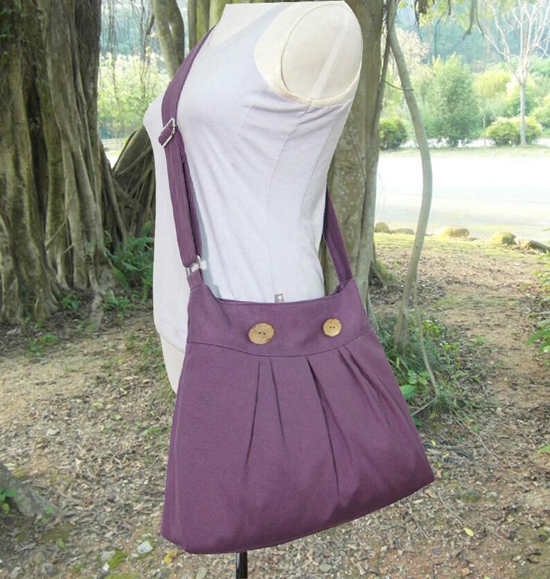 Purple canvas shoulder bag canvas messenger bag women satchel image 0