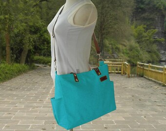 Turquoise canvas messenger men leather tote bag with pockets shoulder bag computer bag women travel bag bridesmaid bag wedding gift