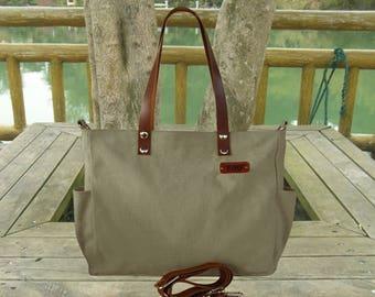 Olive canvas tote bag feminist leather messenger bag women custom initial engraved satchel shoulder bag travel bag laptop bag gift for her