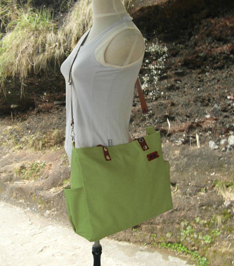 Grass green tote messenger bag men leather strap canvas tote image 0