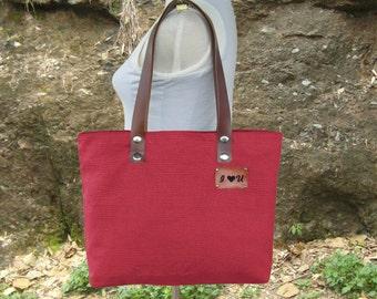 Red canvas shoulder bag leather tote bag personalized diaper bag market tote handbags zipper bag custom engraved purse, gift for her